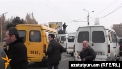 Armenia - Minibus drivers on strike in Yerevan, 17Dec2014.