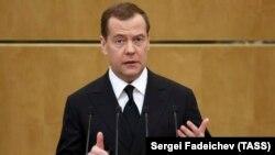 Премьер-министр России Дмитрий Медведев выступает с отчетом о деятельности правительства, Москва, Госдума, 17 апреля 2019 года