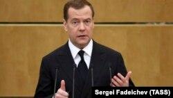 Дмитрий Медведев выступает в Госдуме России, 17 апреля 2019 год