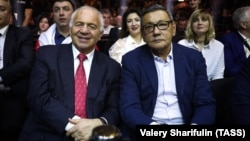 Gafur Rakhimov (right), interim president of the International Boxing Association (AIBA), attends a boxing event in Sochi, Russia, on February 3 with former AIBA President Franco Falcinelli.