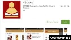 """Mobil Kitabxana - """"vBooks"""" proqramı."""