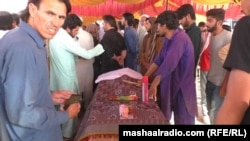The coffin containing the body of Farishta Momand on June 23.
