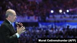 Նախագահ Ռեջեփ Էրդողանը դիմում է աջակիցներին, Ստամբուլ, 6-ը մայիսի, 2018թ.