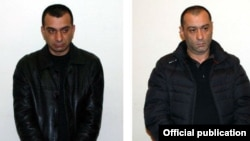 The two suspects in the shooting of presidential candidate Paruyr Hairikian: Khachatur Pogosian (right) and Samvel Harutiunian