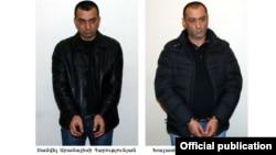 Armenia - The two men arrested on suspicion of shooting the presidential candidate Paruyr Hayrikian, Yerevan, 08Feb2013.