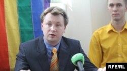 Мікалай Аляксееў на прэсавай канфэрэнцыі ў Менску сёлета 14 траўня.