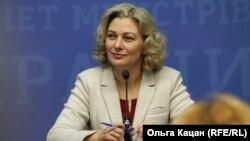 Мовний омбудсмен України Тетяна Монахова під час пресконференції в Києві, 10 грудня 2019 року