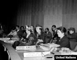 БУУнун Адам укуктары комиссиясынын аялдардын макамы боюнча жыйыны. Нью-Йорк, 8-май, 1950-жыл.