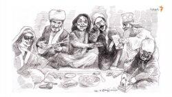 کورش کبیر در ضیافت سیما بینا، به دوتار عثمان گوش میکند