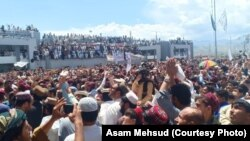 A large protest against rising insecurity in North Waziristan on April 14.