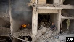 Prizor iz razrušenoga područja Aleppa, 8. lipnja 2016.