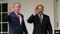 نوری المالکی نخست وزیر عراق و جرج بوش رئیس جمهوری آمریکا