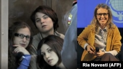 Pussy Riot (left) and Ksenia Sobchak (combo photo)
