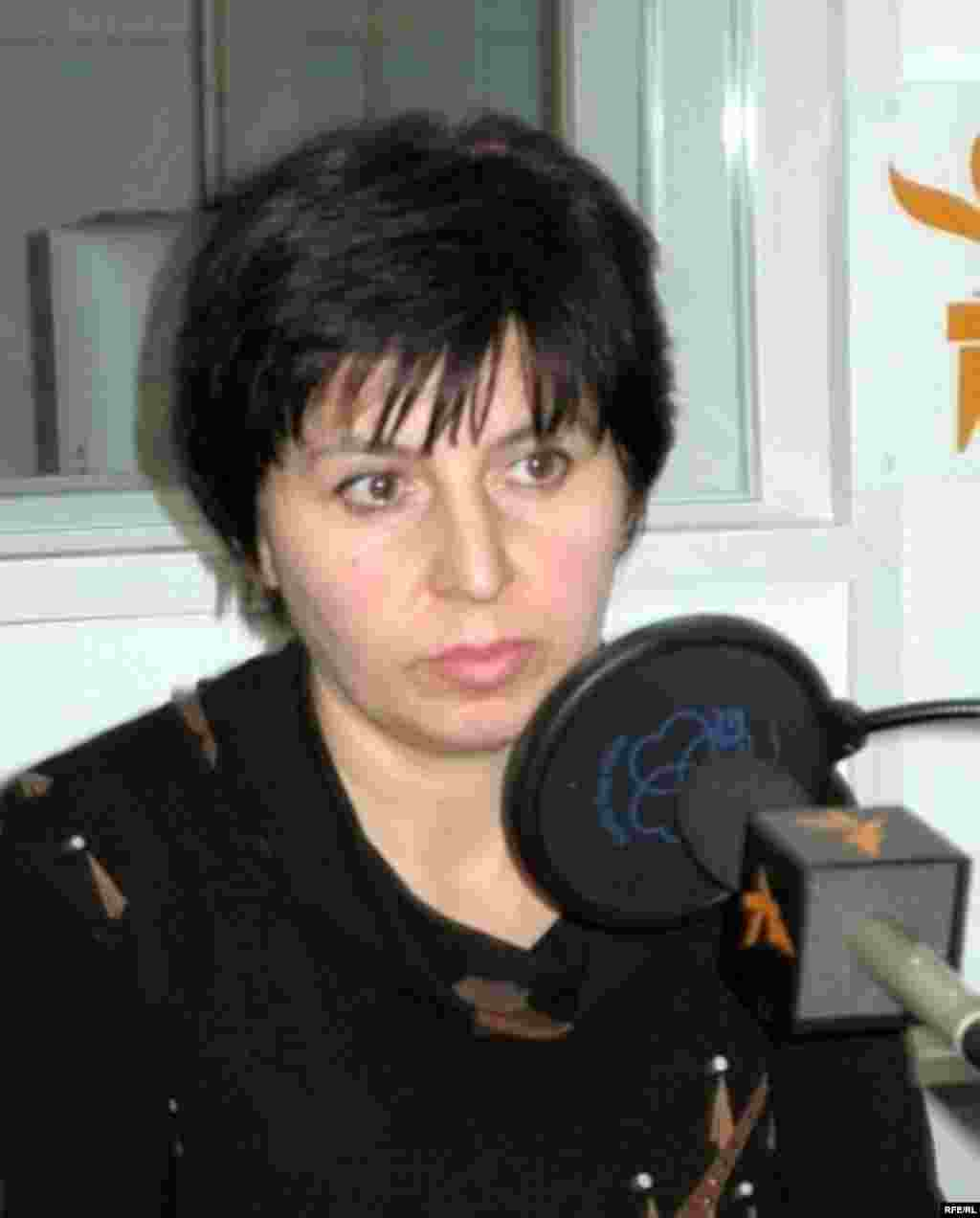 Ella Kesayeva, chairwoman of Voice of Beslan, speaking to RFE/RL in December 2006 (RFE/RL) - Like others in Beslan, Kesayeva believes President Vladimir Putin's government is covering up what happened.