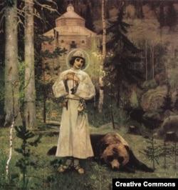 Сергий Радонежский с медведем на картине М. Нестерова