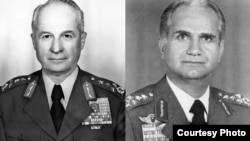 Former military chief of staff Kenan Evren (left) and ex-air force commander Tahsin Sahinkaya are facing charges for a military coup in 1980, which established military rule in Turkey for three years.