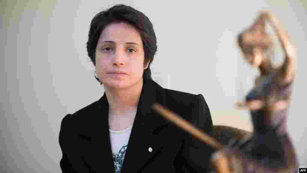 Nasrin Sotoudeh, avokate e të drejtave të njeriut, Iran. Ka mbrojtur aktivisht të burgosurit e opozitës, gra dhe të mitur që përballen me dënimin me vdekje. Ajo është aktualisht duke vuajtur një dënim gjashtë-vjeçar nën akuzat për përhapje të propagandës dhe konspiracion të dëmtojë sigurinë e shtetit. Ajo ishte një nga marrësit për Çmimin Saharov 2012, për lirinë e mendimit.