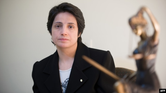 The husband of hunger-striking Iranian lawyer Nasrin Sotoudeh, seen here in a 2008 photo, reportedly said her health has reached a critical stage.