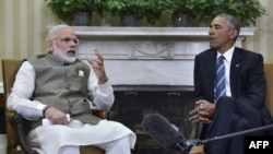 Indian Prime Minister Narendra Modi speaks during a bilateral meeting with U.S. President Barack Obama at the White House in Washington on June 7.