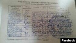 Зачетка Тамерлана Миннемухаметова