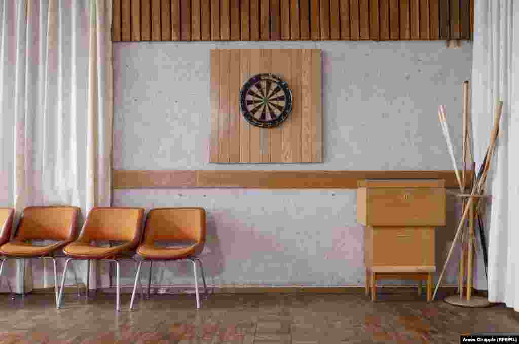 A game room inside the Ligatne resort. The facility looks much like the many other elite spas built throughout the Soviet Union where politicians and their families could combine rest and medical treatment.