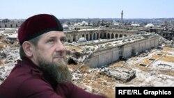 Глава Чечни Рамзан Кадыров на фоне Омейядской мечети (коллаж)