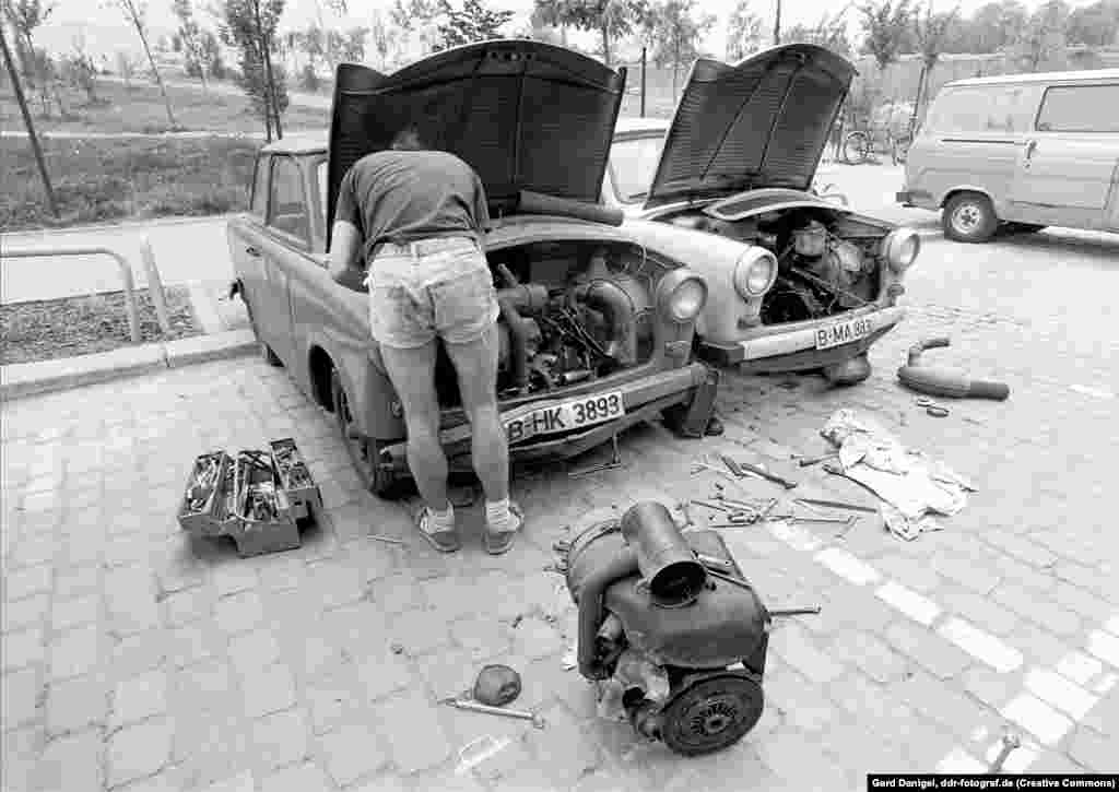 Beneath the Duroplast panels the car was simple -- simple enough to be rather genius. With just five moving parts, the Trabi's original air-cooled engine, which weighed just 40 kilograms, was child's play to maintain.