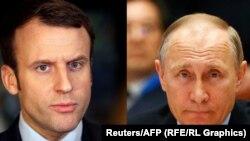 Президент Франції Емманюель Макрон (л) і президент Росії Володимир Путін (комбіноване фото)