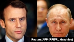 French President Emmanuel Macron (left) and Russian President Vladimir Putin (composite file photo)