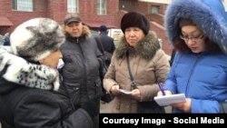 Фатима Джандосова (крайняя справа) в период своего кандидатства в депутаты маслихата общается с избирательницей. Фото Айжан Жан из Facebook'a.