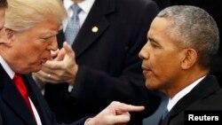 دونالد ترمپ رئیس جمهور امریکا و بارک اوبامارئیس جمهور پیشین اینکشور