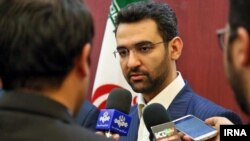 Iranian minister of ICT Mohammad Javad Azari Jahromi, speaking with reporters in his trip to Mashhad, on August 08, 2017.