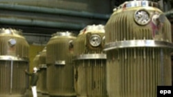Nuclear waste containers at the Mayak nuclear station