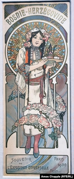 A Mucha-designed poster made as a souvenir from Bosnia's pavilion
