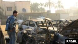 آثار انفجارات حدثت في بغداد يوم 15 كانون الأول 2009