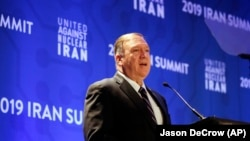 U.S. Secretary of State Mike Pompeo delivers remarks during the United Against Nuclear Iran summit, in New York, September 25, 2019