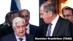 ولیدالمعلم وزیر خارجه سوریه و سرگی لاوروف وزیر خارجه روسیه