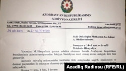 Azerbaijan -- letter from facebook