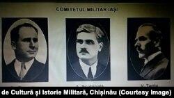 Componența Comitetului Militar de la Iași (1917). Sursa: Centrul de Cultură și Istorie Militară, Chișinău