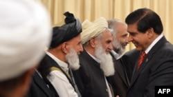 د پاکستان وزیراعظم راجا پروېز اشرف له افغان سولې اعلي شورا پلاوي سره روغبړ کوي. ۱۲م نومبر ۲۰۱۲م کال