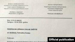 Dokument Komisije za bezbednost Predstavničkog doma Parlamenta FBiH o pokretanju istrage o radu Federalne uprave civilne zaštite tokom proglašenja prirodne katastrofe 16. marta 2020. zbog COVD-19