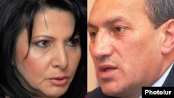 Surik Khachatrian (right) had been accused of assaulting businesswoman Silva Hambardzumian (left)