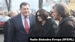 Milorad Dodik, Monika Beluči i Emir Kusturica u Banjaluci, 19. januar 2013. foto: Gojko Veselinović