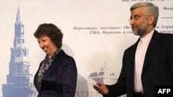 سعید جلیلی، مذاکرهکننده هستهای ایران، , کاترین اشتون، مسئول سیاست خارجی اتحادیه اروپا.