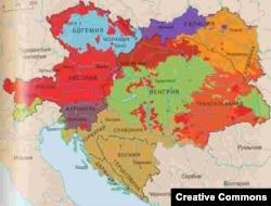 Карта расселения народов Австро-Венгрии (1910)