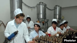 Armenia -- Workers at a brandy factory in the Armavir region.