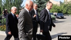 Representatives of the opposition Armenian National Congress arriving for a meeting with government negotiators on August 16.