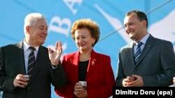 Vladimir Voronin, Zinaida Grecianîi și Igor Dodon, octombrie 2008