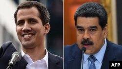 В разі, якщо Ніколас Мадуро (праворуч) не оголосить про проведення виборів упродовж восьми днів, лідери Великої Британії, Іспанії, Франції й Німеччини обіцяють визнати виконувачем обов'язків президента лідера опозиції Хуана Гуайдо (ліворуч)