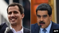 Venezuelan National Assembly head Juan Guaido (left) says President Nicolas Maduro must resign.